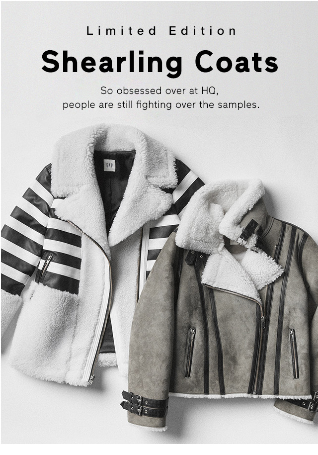 Limited Edition Shearling Coats. So obsessed at HQ, people are still fighting over the samples.