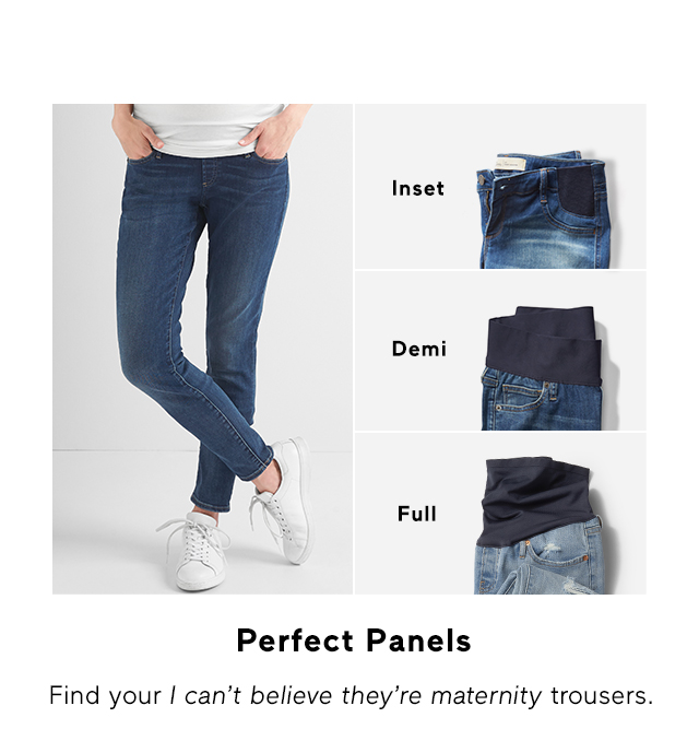 Inset, Demi, Full | Perfect Panels - Find your I can't believe they're maternity trousers.