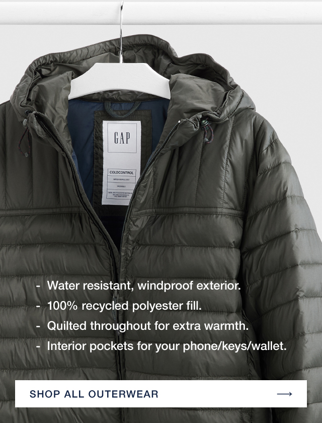 Water resistant, windproof exterior. 100% recycled polyester fill. Quilted throughout for extra warmth. Interior pockets for your phone/keys/wallet. SHOP ALL OUTERWEAR →