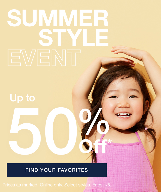 SUMMER EVENT STYLE | Up to 50% Off* | FIND YOUR FAVORITES | Prices as marked. Online Only. Select Styles. Ends 1/6.